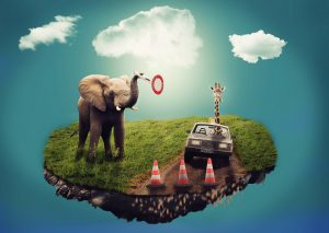 A dream scenario with a floating piece of land on which stands an elephant and a car being driven by a giraffe.