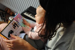 A mother is practicing pre-reading skills through picture reading with a young child.