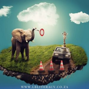 An elephant on a patch of grass holding a sign and a giraffe driving a car indicating the use of imagination when reading books.