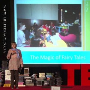 Isobel Abulhoul addresses her TEDx audience of teachers about 'Why Reading Matters'.