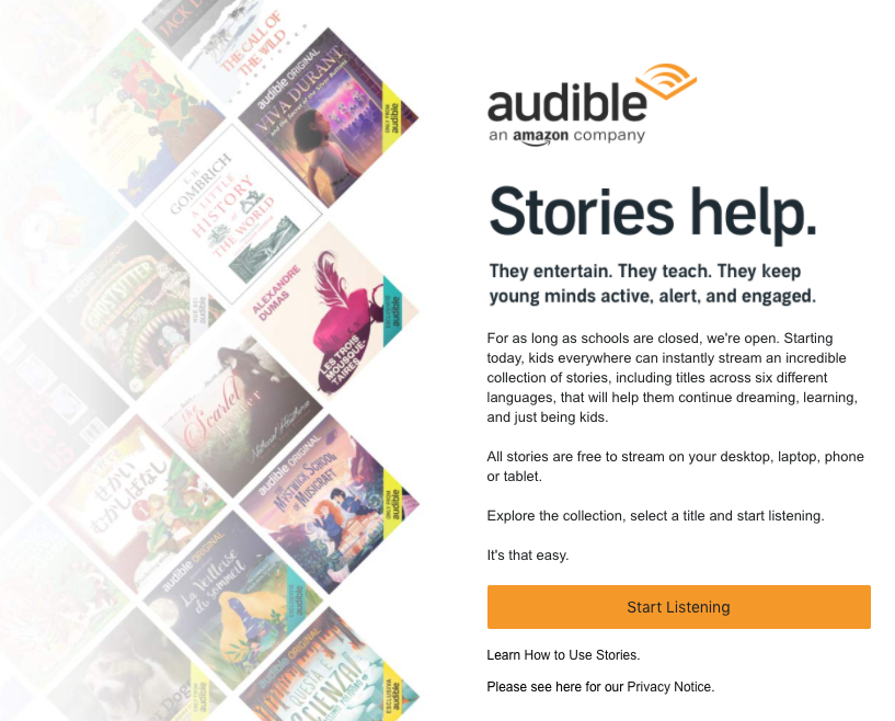 Image of the offer made by Audible.