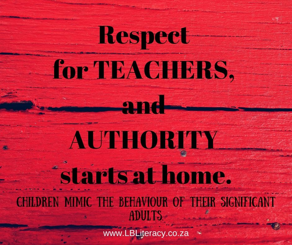 Respect for Teachers and Authority starts at home. Children mimic the behaviour of their significant adults.